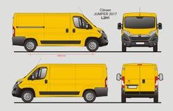 Citroen Jumper Cargo Van 2017 L2H1 Blueprint. Citroen Jumper Cargo Delivery Van 2017 L2H1 Scale 1:10 detailed template in AI Format Stock Photography