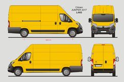 Citroen Jumper Cargo Van 2017 L4H3 Blueprint. Citroen Jumper Cargo Delivery Van 2017 L4H3 Scale 1:10 detailed template in AI Format Stock Photo