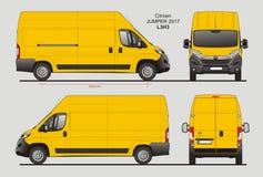 Citroen Jumper Cargo Van 2017 L3H3 Blueprint. Citroen Jumper Cargo Delivery Van 2017 L3H3 Scale 1:10 detailed template in AI Format Royalty Free Stock Images