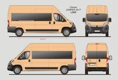 Citroen Jumper Passenger Van 2017 L3H3 Blueprint. Citroen Jumper Passenger Van 2017 L3H3 Scale 1:10 detailed template in AI Format Royalty Free Stock Photography