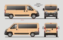 Citroen Jumper Passenger Van 2017 L2H1 Blueprint. Citroen Jumper Passenger Van 2017 L2H1 Scale 1:10 detailed template in AI Format Stock Photography