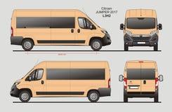 Citroen Jumper Passenger Van 2017 L3H2 Blueprint. Citroen Jumper Passenger Van 2017 L3H2 Scale 1:10 detailed template in AI Format Royalty Free Stock Photography