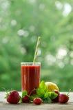 Citroen, muntbladeren, aardbeien en aardbei smoothie Royalty-vrije Stock Foto