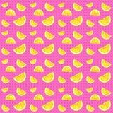 Citroen naadloos patroon en roze achtergrond Royalty-vrije Stock Fotografie