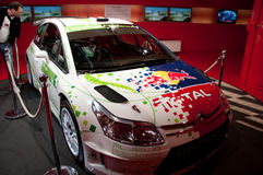 Citroen, Paris, Champs Elysee Showroom, New Cars. Citroen Racing Rally Car at the Champs Elysee, Paris auto showroom Royalty Free Stock Images