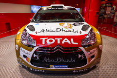 Citroen rally DS3. Citroen DS3 WRC in the showroom on the Champs Elysees in Paris, France, on February 20, 2014 Stock Photos
