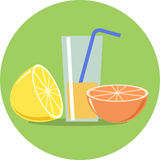 Citroen, Sinaasappel en sap vlakke illustratie Royalty-vrije Stock Afbeelding