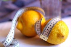 Citroen, water Detoxdieet voor gewichtsverlies Stock Fotografie
