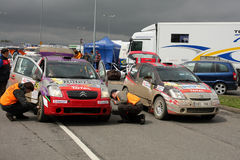 Citroen WRC checked by rally referies Stock Images