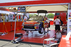 Citroen WRC team Service. The service of the Citroen WRC team in the Service park of the 54th Acropolis Rally of Greece (11-14 June 2009 Royalty Free Stock Images