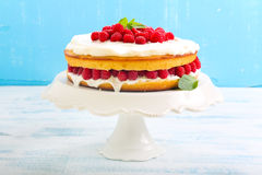 Citroencake met framboos stock afbeeldingen