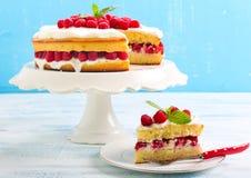 Citroencake met framboos royalty-vrije stock fotografie