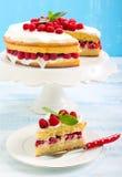 Citroencake met framboos royalty-vrije stock afbeeldingen