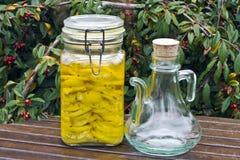 Citroenen die in olijfolie worden behouden Royalty-vrije Stock Fotografie