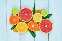 Citroenen, sinaasappelen en kalk Sinaasappelen, kalk, grapefruits, mandarijnen en citroenen Stock Fotografie
