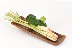 Citroengras, kaffir kalkbladeren en galangal, gebruikt als soep (De yam van Tom) Royalty-vrije Stock Foto's