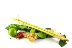 Citroengras, kaffir kalkbladeren, Spaanse peper, kalk Stock Foto's
