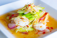 Citroengrassalade met garnalen Stock Foto's