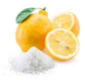 Citroenzuur en citroenvruchten Stock Afbeeldingen