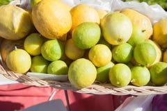 Citron à la ligne de buffet dans la branche d'hôtel Citron frais dans le tir de panier et de foyer sélectif Images libres de droits