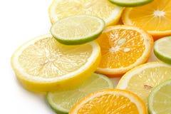 Citron allsorts-kalk, citroen, mandarijn royalty-vrije stock foto's