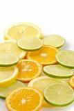 Citron allsorts-kalk, citroen, mandarijn stock foto's