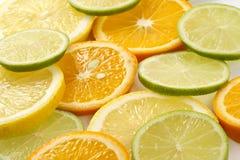 Citron allsorts-kalk, citroen, mandarijn royalty-vrije stock foto