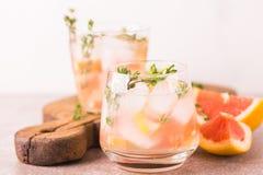 Citron amer de genièvre avec le thym et le pamplemousse Limonade de fruit images stock