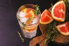 Citron amer de genièvre avec le thym et le pamplemousse Limonade de fruit photographie stock libre de droits