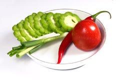 Citron amer, tomate, s/poivron et oignon vert de source Photographie stock libre de droits