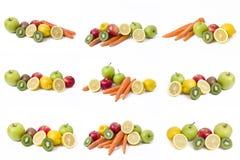 Citron avec des pommes et kiwi sur le fond blanc Kiwi avec le citron sur un fond blanc Carottes avec des fruits sur un fond blanc photographie stock