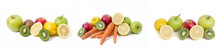 Citron avec des pommes et kiwi sur le fond blanc Kiwi avec le citron sur un fond blanc Carottes avec des fruits sur un fond blanc photo stock