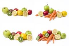 Citron avec des pommes et kiwi sur le fond blanc Kiwi avec le citron sur un fond blanc Carottes avec des fruits sur un fond blanc photos libres de droits