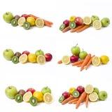 Citron avec des pommes et kiwi sur le fond blanc Kiwi avec le citron sur un fond blanc Carottes avec des fruits sur un fond blanc images stock