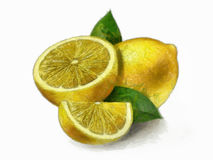 Citron - citrons avec des lames Images stock