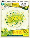 Citron. Colorful explosion with fruit, splashes and clouds of smoke. With caption in comic style Royalty Free Stock Photos