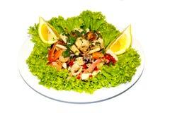 Citron de l'Italie de nourriture de salade de fruits de mer Photographie stock libre de droits
