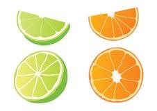 Citron et demi boule orange sur le fond blanc illustration libre de droits