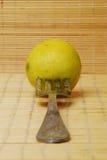 Citron et fourchette Photos stock