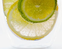 Citron et limette dans l'eau de pétillement Photographie stock libre de droits