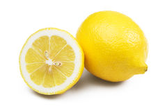 Citron frais d'isolement sur le fond blanc Photo libre de droits
