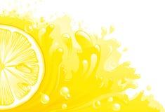 Citron freshness. Half of circle of lemon on background with lemon juice. Horizontal format. Vector illustration Stock Photos