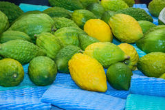 The citron fruit - Etrog laid out for sale Royalty Free Stock Photography