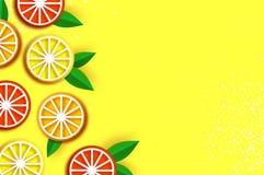 Citron graprfruit, apelsin Citrus i papperssnittstil Saftiga mogna skivor för origami Sund mat på guling Sommartid royaltyfri illustrationer