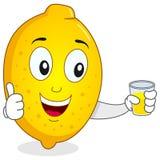 Citron heureux avec du jus serré frais Photo libre de droits