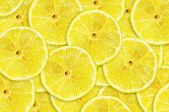 Citron juteux coup? en tranches Plan rapproch? Copiez l'espace Fruits frais Fond de fruit photos libres de droits