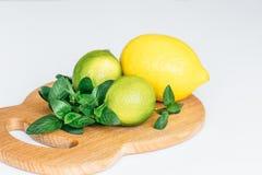 Citron, limefrukt och mintkaramell på ett träbräde royaltyfri bild