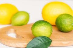 Citron, limefrukt och mintkaramell på ett träbräde arkivbild