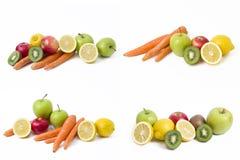 Citron med äpplen och kiwin på vit bakgrund Kiwi med citronen på en vit bakgrund Morötter med frukter på en vit bakgrund arkivbild