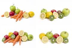 Citron med äpplen och kiwin på vit bakgrund Kiwi med citronen på en vit bakgrund Morötter med frukter på en vit bakgrund fotografering för bildbyråer